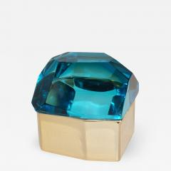 Toso Vetri D arte Diamond Shaped Turquoise Murano Glass Brass Jewel Like Box - 1090883
