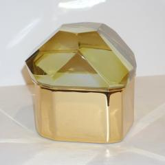 Toso Vetri D arte Toso Italian Modern Diamond Shaped Gold Murano Glass and Brass Jewel Like Box - 1183874