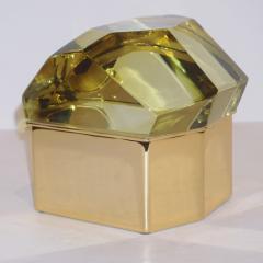 Toso Vetri D arte Toso Italian Modern Diamond Shaped Gold Murano Glass and Brass Jewel Like Box - 1183875