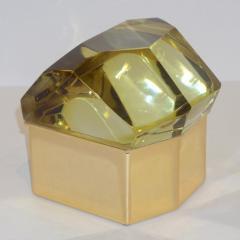 Toso Vetri D arte Toso Italian Modern Diamond Shaped Gold Murano Glass and Brass Jewel Like Box - 1183876
