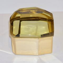 Toso Vetri D arte Toso Italian Modern Diamond Shaped Gold Murano Glass and Brass Jewel Like Box - 1183877