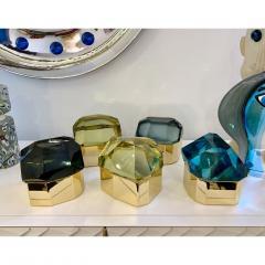 Toso Vetri D arte Toso Italian Modern Diamond Shaped Gold Murano Glass and Brass Jewel Like Box - 1183880