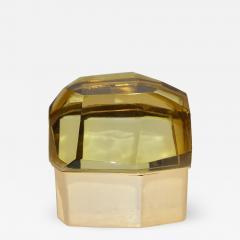 Toso Vetri D arte Toso Italian Modern Diamond Shaped Gold Murano Glass and Brass Jewel Like Box - 1183982