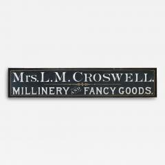 Trade Sign Mrs L M Crosswell Millinery and Fancy Goods - 71137