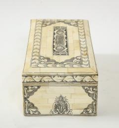 Traditional Pen Ink Decorated Bone Box - 1831095