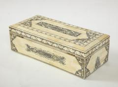 Traditional Pen Ink Decorated Bone Box - 1831096