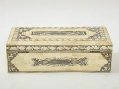 Traditional Pen Ink Decorated Bone Box - 1831097