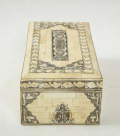 Traditional Pen Ink Decorated Bone Box - 1831098