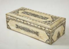 Traditional Pen Ink Decorated Bone Box - 1831099