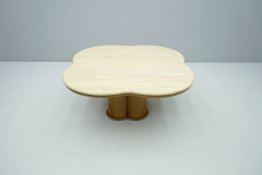 Travertine Cloud Coffee Table with Wood Base 1970s - 1837553