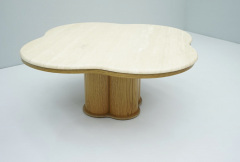 Travertine Cloud Coffee Table with Wood Base 1970s - 1837554