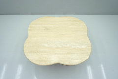 Travertine Cloud Coffee Table with Wood Base 1970s - 1837556
