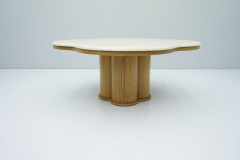 Travertine Cloud Coffee Table with Wood Base 1970s - 1837557