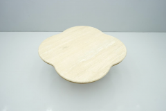 Travertine Cloud Coffee Table with Wood Base 1970s - 1837558