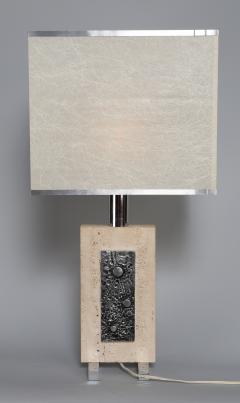 Travertine and Steel Italian Table Lamp - 697569