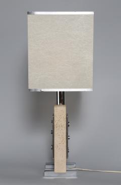 Travertine and Steel Italian Table Lamp - 697570