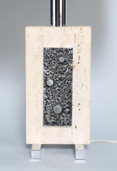 Travertine and Steel Italian Table Lamp - 697571