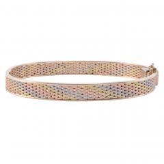 Tri Color Gold Hinged Bangle Bracelet - 1978688