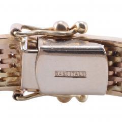 Tri Color Gold Hinged Bangle Bracelet - 1978690