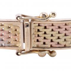 Tri Color Gold Hinged Bangle Bracelet - 1978692