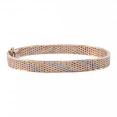 Tri Color Gold Hinged Bangle Bracelet - 1982396