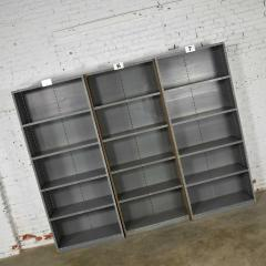 Trio of industrial steel bookcase shelving painted gray green great patina - 1682246