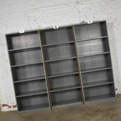 Trio of industrial steel bookcase shelving painted gray green great patina - 1682248