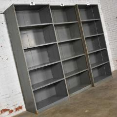 Trio of industrial steel bookcase shelving painted gray green great patina - 1682251
