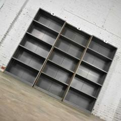 Trio of industrial steel bookcase shelving painted gray green great patina - 1682253
