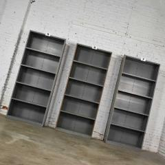 Trio of industrial steel bookcase shelving painted gray green great patina - 1682255