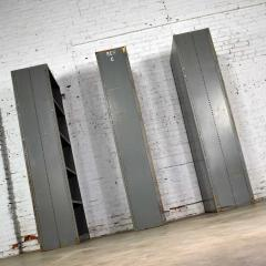 Trio of industrial steel bookcase shelving painted gray green great patina - 1682284