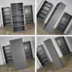 Trio of industrial steel bookcase shelving painted gray green great patina - 1682315