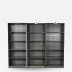 Trio of industrial steel bookcase shelving painted gray green great patina - 1683431