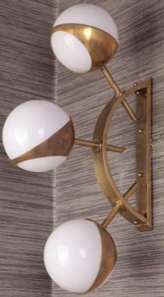 Triple Orb Brass Opal Glass Wall Lights in the Style of Stilnovo - 1455721