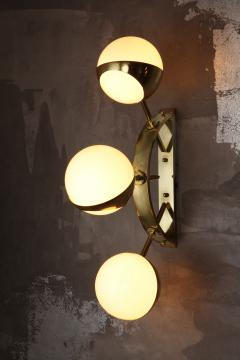 Triple Orb Brass Opal Glass Wall Lights in the Style of Stilnovo - 1462515