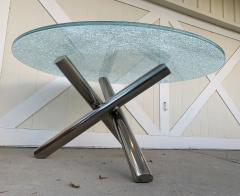 Tripod Dining Table with Crackled Glass Top - 1831156