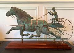Trotting Horse with Sulky Copper Weathervane on Display - 1381137