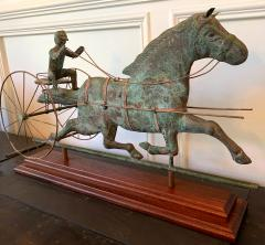Trotting Horse with Sulky Copper Weathervane on Display - 1381138
