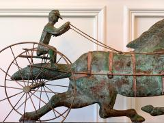 Trotting Horse with Sulky Copper Weathervane on Display - 1381141