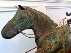 Trotting Horse with Sulky Copper Weathervane on Display - 1381149