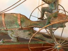 Trotting Horse with Sulky Copper Weathervane on Display - 1381151