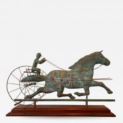 Trotting Horse with Sulky Copper Weathervane on Display - 1384142