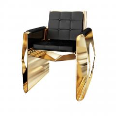 Troy Smith 21st Century Contemporary Hand Made Gold Leaf Crocodile Lounge Chair - 761200