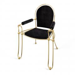 Troy Smith Contemporary Solid Brass Dining Chair with Pony Hide Upholstery - 940213