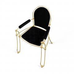 Troy Smith Contemporary Solid Brass Dining Chair with Pony Hide Upholstery - 940214