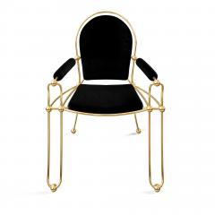 Troy Smith Contemporary Solid Brass Dining Chair with Pony Hide Upholstery - 940216