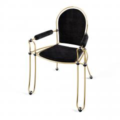 Troy Smith Contemporary Solid Brass Dining Chair with Pony Hide Upholstery - 940222