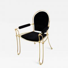 Troy Smith Contemporary Solid Brass Dining Chair with Pony Hide Upholstery - 942229
