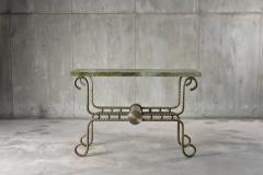 Troy Smith Contemporary Solid Steel and Thick Marble Topped Console - 443890