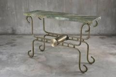 Troy Smith Contemporary Solid Steel and Thick Marble Topped Console - 443892